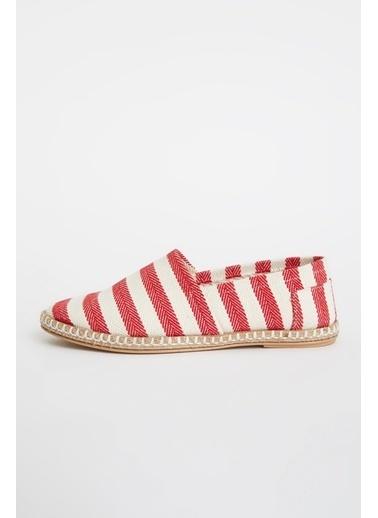 DeFacto Çizgi Deseli Hasır Tabanlı Sandalet Kırmızı